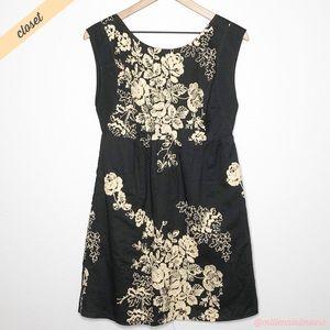 [J. Crew] Brown Cream Mirabel Empire Waist Dress